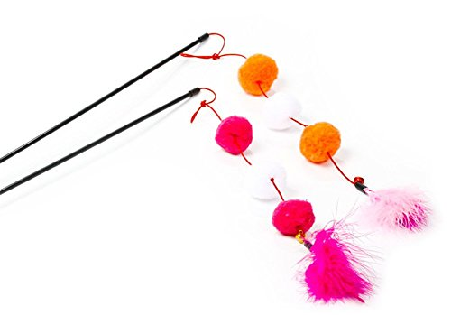 Leisial 5pcs Juguetes para Gatos con Plumas y Bola de Pelo del Animal Doméstico Sticks del Juguete Funny Pet Cat Play Sticks Para Gato Animal Multicolores