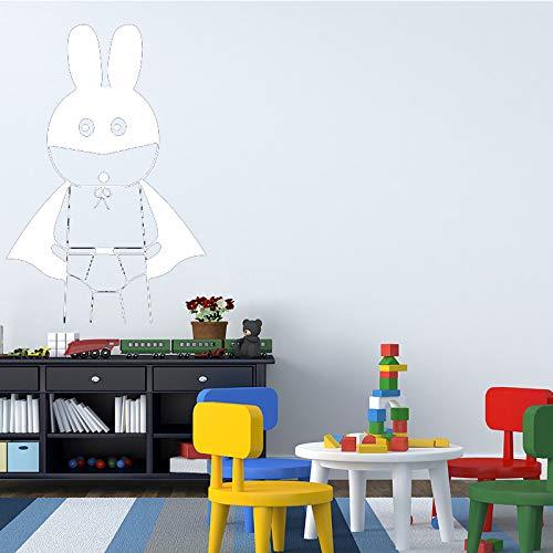 AiyoAiyo Lustige Cartoon Kaninchen Wandaufkleber für Wohnkultur Wohnzimmer Dekoration Mädchen Schlafzimmer Zubehör Wandtattoo Remvoable weiß 30 cm X 44 cm
