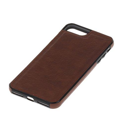 Pelle Custodia Cover per iPhone 7/8 plus Case ,Ukayfe Ultra Slim Casa Custodia (back cover) rivestita in pelle pieno per iPhone 7/8 plus,Protettiva Custodia Luxury Puro Colore Modello custodia Combo d Caffè 5#