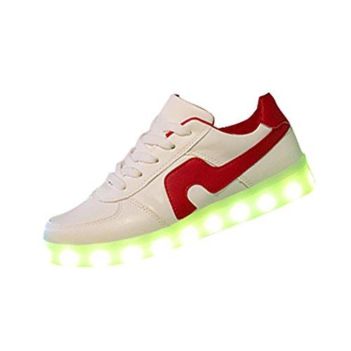 Herren/Damen Sneaker,Herren/Damen Sneaker, 2018 heiß Verkauf Mode Leuchtende Freizeitschuhe für Paare Unisex Licht schnüren LED-Lade Sneaker USB Licht Sportschuhe (37, Rot)