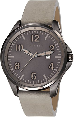 Esprit Tallac Brave Nubuck Men's Quartz Watch with Grey Dial Analogue Display and Grey Leather Strap ES107601003