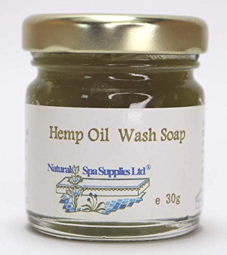 British Naturally Anti-Bacterial Hemp Oil Face & Body Wash Soap for Sensitive, Allergy and Trouble-Prone Skin, 30g glass jar