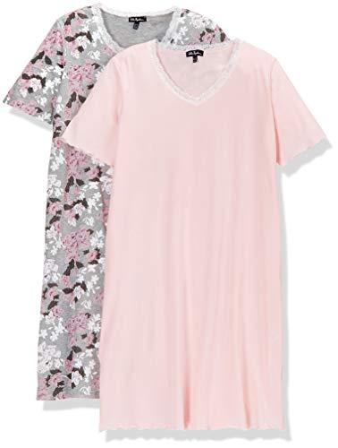 2 Pack Nachthemd (Ulla Popken Damen Big-Shirt 2er Pack, Blütenmuster, Große Größen Nachthemd Mehrfarbig (Multicolor 90), Herstellergröße: 54+)