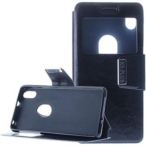 OVIphone Funda Con Tapa Libro Soporte Para BQ AQUARIS X5 PLUS (Color Negro)