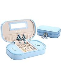 LELADY JEWELRY Caja de Joyas de Viaje Mini, Caja de Joyas PVC con Doble y