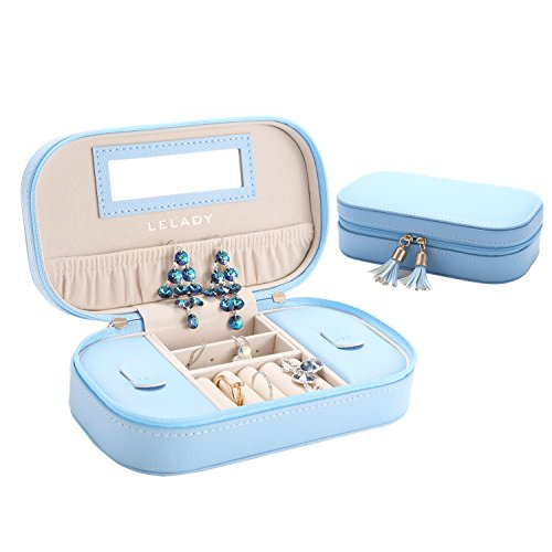 - 41sCQtCltSL - Jewellery Box LELADY Portable Travel Jewellery Organizer Faux Leather Storage Case Holder for Earrings Rings Necklaces, Gifts for Women, Small Size (Sky Blue)