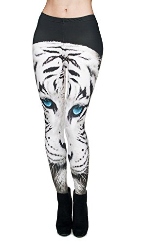Queenshiny® Damen wetlook latexlook Ganzkörper Leggings Hohe Taille Leder Optik (One-size, Tiger) (Damen Leder Tiger)