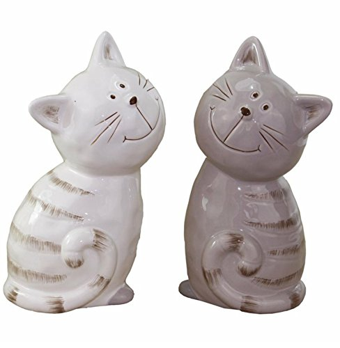Unbekannt Katze Katzen Keramik Figur • 2 Farben zur Auswahl Weiß Oder Grau •13 cm Hoch • Geschenkidee · Dekoration für Garten, Balkon Oder Terasse (Auswahl Katze Grau) (Figur Glasiert Katze Keramik)
