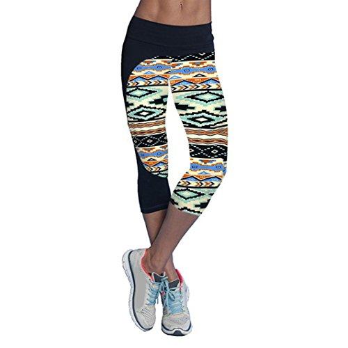 Ouneed® Femmes Fitness Sport Leggings Corsaire Vert