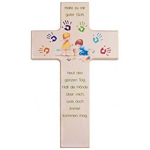Kinder- Holzkreuz: 'Gott beschütze mich' 15 cm