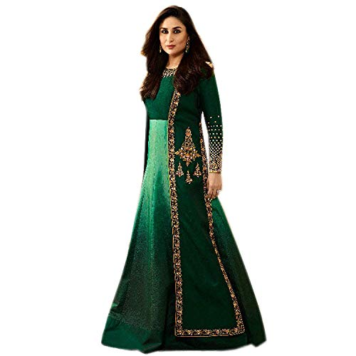 Monika Silk Mill Women\'s Latest Green Color Embroidered Gown Style Anarkali Suit