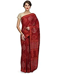 The Weave Traveller Handloom Women'S Hand Block Printed Cotton Saree With Blouse (Multicoloor)