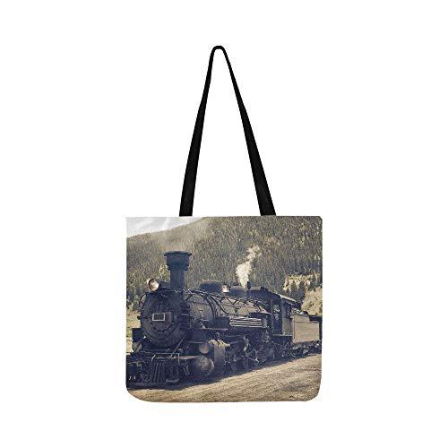 Vintage Black Steam Powered Eisenbahn Zug Canvas Tote Handtasche Schultertasche Crossbody Taschen Geldbörsen für Männer und Frauen Einkaufstasche - Black Cow Geldbörse