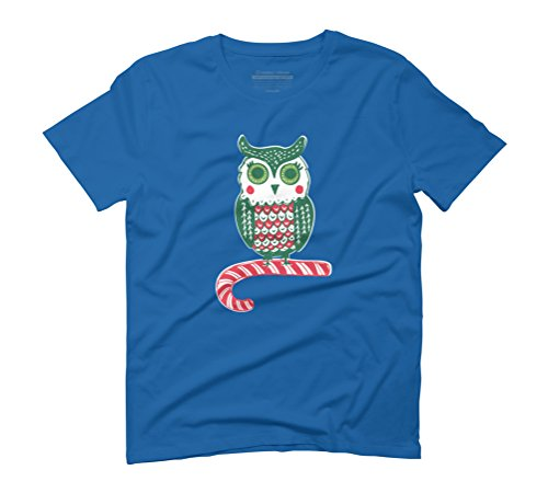 Festive Owl Men's Graphic T-Shirt - Design By Humans Royal Blue