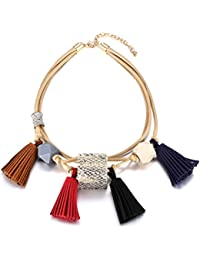 eManco Fashion Black White Bib Wood Bead Collars Necklace Statement Jewellery for Women Fantastic Gift