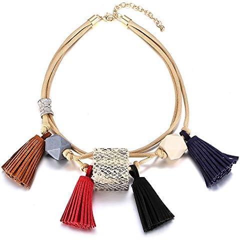eManco Bohemia declaración gargantilla collar collar para mujer cuerda cadena borla de colgantes, diseño de madera, étnicos joyería