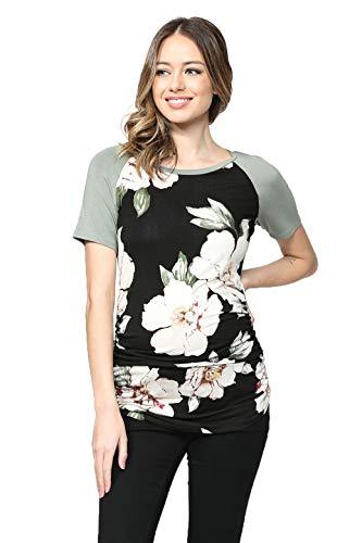 LaClef Damen Umstands-T-Shirts Top mit Baseball Raglan - schwarz - Klein Petite Spandex Jersey