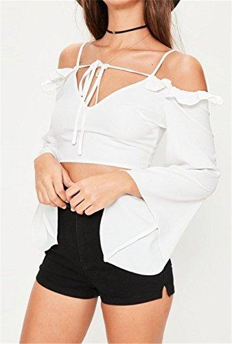 Sexy Schulterfrei Kalte Schulter Offenen Schultern V-Ausschnitt Reißverschluss Hinten Zurück Kurze Crop Langarm Weiten Ärmeln Glockenärmel Bluse Hemd Shirt Oberteil Top Weiß