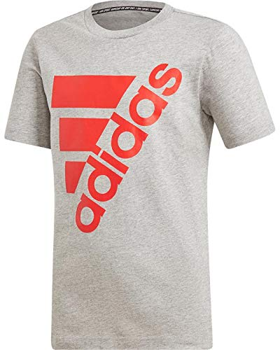 adidas Kinder Must Haves Badge of Sport Kurzarm Shirt Medium Grey Heather/Active Red 164