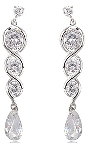SaySure - Long Earrings Dangle Drop Design 10KT White Gold Filled AAA