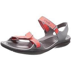 Crocs W Swiftwater Webbing Sandal 204804, Chaussures de Plage & Piscine Femme, Orange (Orange 204804-6pk), 38/39 EU