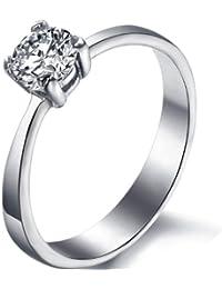 JewelryWe de acero inoxidable Anillo para aniversario de compromiso boda clear Zirconia mujeres con anillos 3 mm ancho tamaño 49 A 57