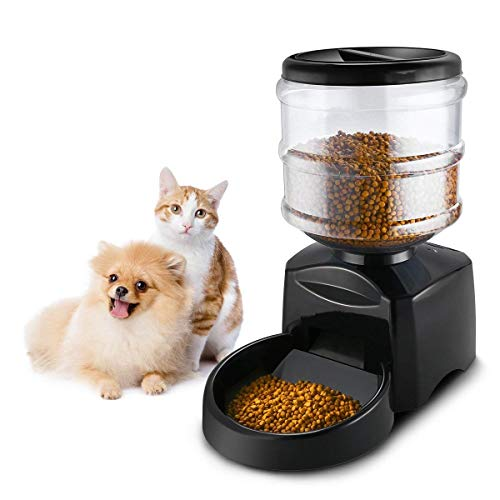 V.JUST 5.5L Fuente Automática del Alimentador De Mascotas Grabación De Mensajes De Voz Pantalla LCD Grandes Perros Inteligentes Gatos Dispensador De Alimentos Dispensador De Tazas Perro Gato