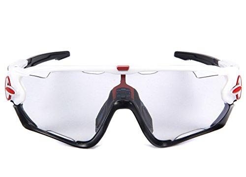 Queshark Deportes Gafas de sol de ciclismo para bicicleta polarizada fotocromática Full Revoed 3 Lente (Blanco-Negro)