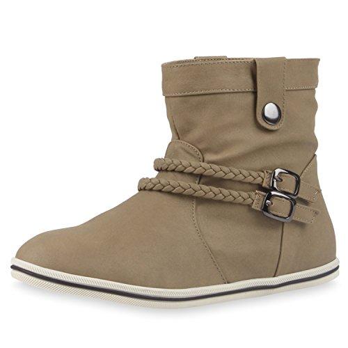 napoli-fashion Sportliche Damen Stiefeletten Stiefel Flache Boots High & Low Top Damen Stiefeletten...