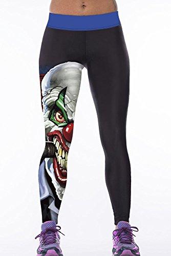 NICE BUY 3d stampa digitale da donna Leggings Yoga Pantaloni Cartoon Patterned Leggings Leggins Blue Taglia unica