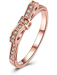 5c4a8fba40a7 YAZILIND joyería 18 k Rosa de Oro Plateado Nudo de la Mariposa incrustados Zirconia  cúbicos Anillo