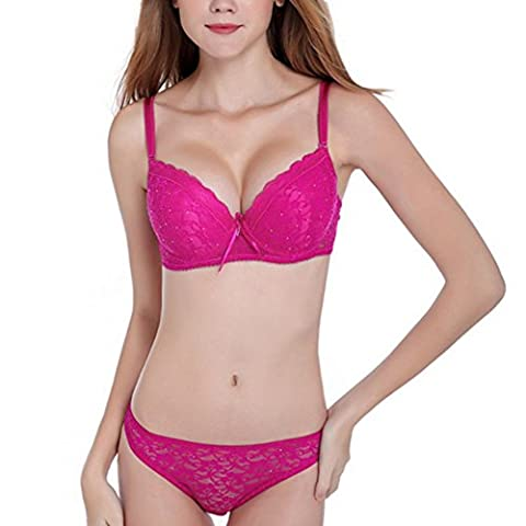 ESHOO Women's Push Up Underwire Embroidery Lace Bra Panties Set