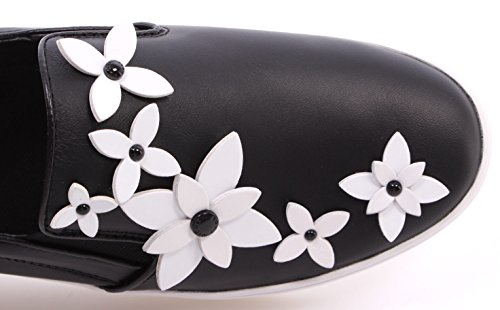 Scarpe Donna Sneakers MICHAEL KORS Lola Slip On Leather Black White Flowers Nere Nero