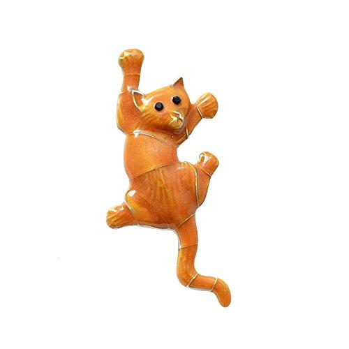 SODIAL Orange Katze Brosche Fuer Frauen Tier Brosche Suesse Emaille Stift Schmuck Kleidung Zubehoer