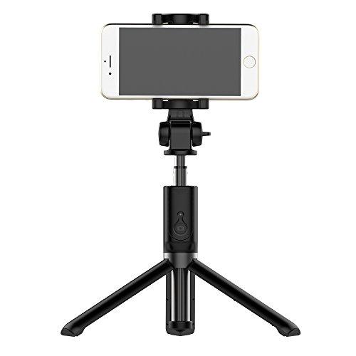 Bluetooth Selfie Stick Stativ mit Wireless Remote für iPhone x 8 7 plus Huawei P10 Plus Samsung Galaxy S8 S7 Plus Rand 3 in 1 Mini-Tasche Erweiterbar Einbeinstativ Aluminiumlegierung 360 Grad-Drehung (Remote Erweiterbar)