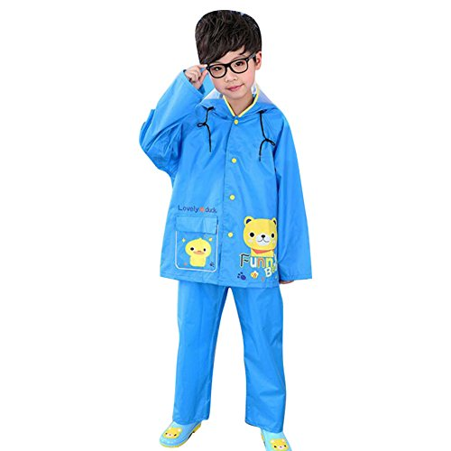 Highdas Network technology Ltd Highdas Kinder Jungen Regen Pants Anzug Regenmantel Kinder Poncho mit Big Hat Blue Bear / 110-120cm