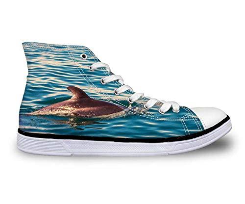 Cool Blue Hi Top Women's Men's Blue Canvas Trainers Shoes Flat Lace Up Plimsolls Shark CA4643AK UK 10=EUR 43