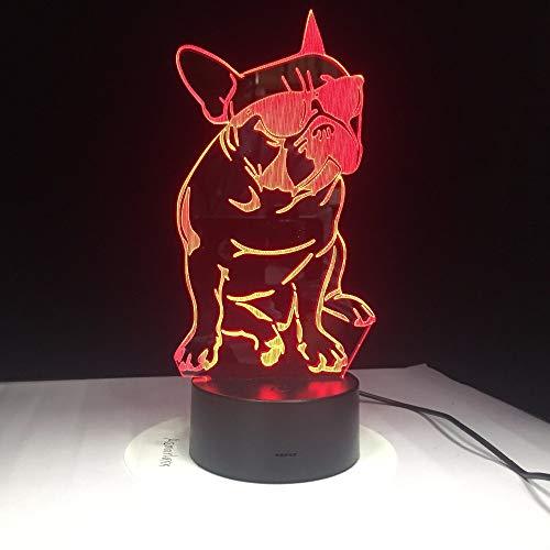 Tragen von Sonnenbrillen Hund 3d Lampe 7 Farbe Led Nachtlampen Für Kinder Touch Led Usb Tisch Lampara Lampe Schlafen Nachtlicht Drop Ship