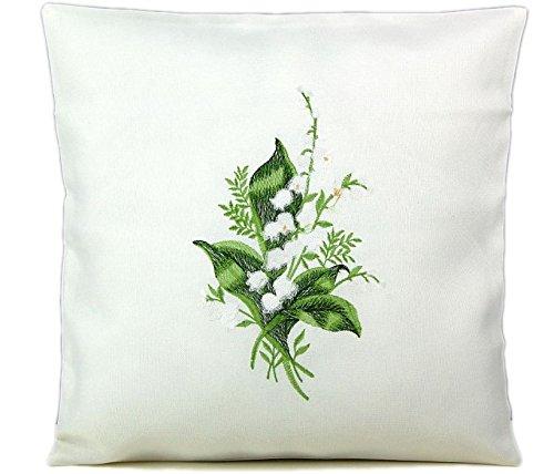klassische Kissenhülle 40x40 cm weiß Maiglöckchen grün gestickt Polyester pflegeleicht FRÜHLING Sommer (Kissenhülle 40x40 cm)