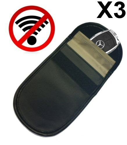 3x Genuine jaula de Faraday bolsa coche de entrada sin llave Fob Protector–Bloqueador de señal bloque Robo