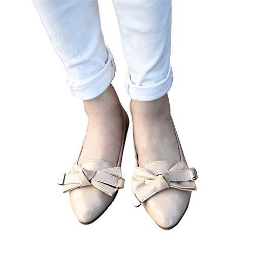 Smilun Damen Ballerina Flach Ballett Schleife Lackleder Beige