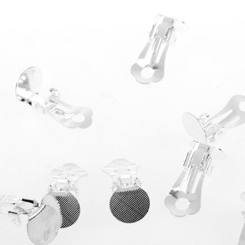 Ecloud Shop 10X Ohrclips Rohling Versilbert Basteln mit Klebefläche CHARMS