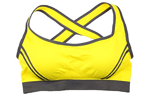 JFIN Femmes Forme U Brassière Nylon Fermeture à Glissière Avant Actif Couleur Fluorescente Indy Pro Yellow