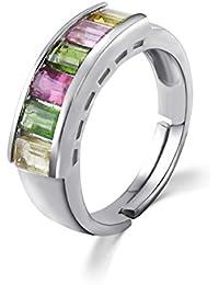 colorfey S925plata de ley anillos hecho a mano Naturales Semi Precious Gemstone rosa amarillo verde turmalina calidad regalo para las mujeres niñas (ajustable Tamaño L M N O P Q R S)