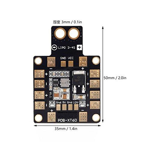 Wokee Modul Power Distribution Board OCDAY 3A PDB Verteilung XT60 Stecker für DIY Quadcopter Ausgang Unterstützung mit Doppel BEC 5V/12V für FPV Drohne für FPV Racing Drone Quadcopter Mars Dc-power-distribution-modul