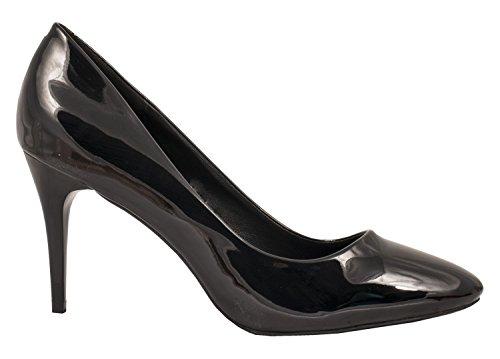 Elara Damen Pumps Spitze High Heels Stilettos Lack| chunkyrayan LL30-Schwarz-41