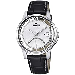 Lotus Men's Quartz Watch with Silver Dial Analogue Display and Black Leather Strap 18325/1