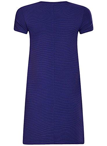 oodji Ultra Femme Robe Ligne A en Maille Côtelée Bleu (7500N)