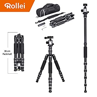 Rollei Aluminium traveler tripod in titanium with ball head - compatible with DSLR & DSLM cameras - incl. monopod, Acra Swiss quick release plate & tripod bag