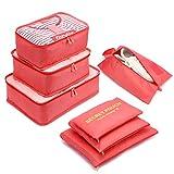 Organizador de Equipaje,LOSMILE 7 en 1 Set Impermeable Organizadores de Viaje para Maletas,3 Cubos de Embalaje +3 Bolsas de Almacenamiento+1 Saco de Zapatos.(Rojo Sandía)